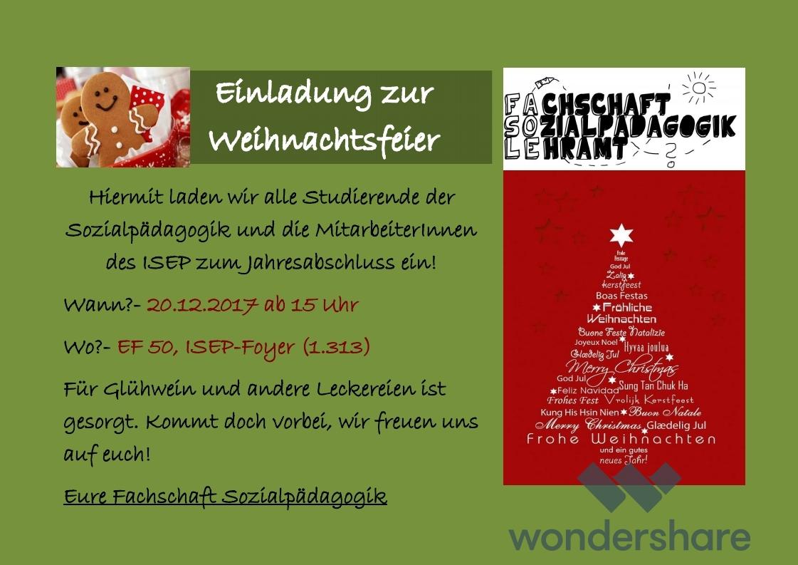 Beitrag Zur Weihnachtsfeier.Weihnachtsfeier Der Fachschaft Fachschaft Sozialpädagogik Lehramt